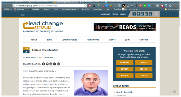 Lead Change Group February blog screen shot
